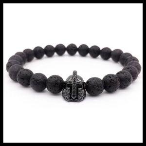 Black lava rock black rodhium cz gladiator helmet